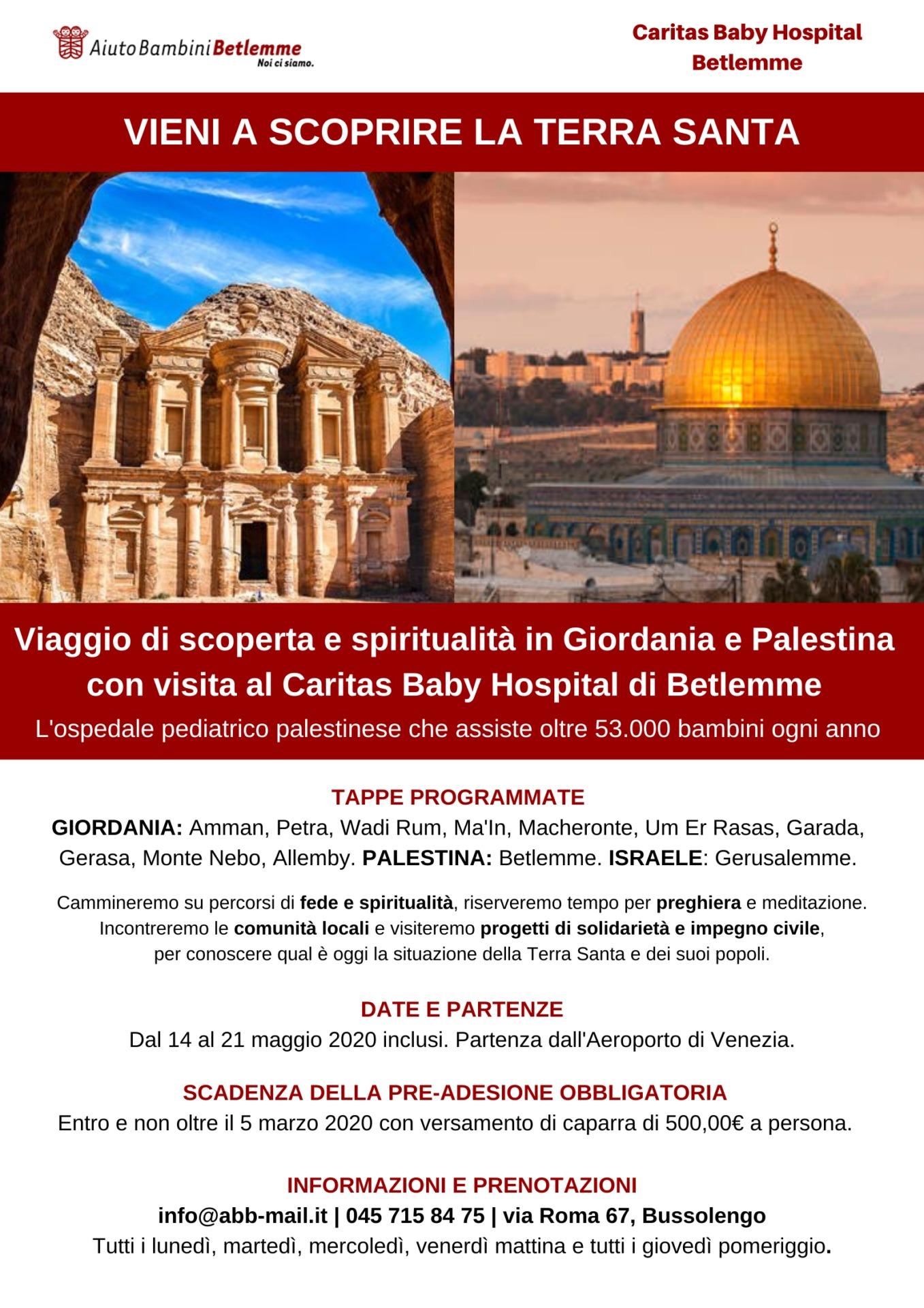 Maggio 2020 viaggio CBH Giordania Palestina Gerusalemme